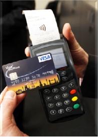 Česko vrámci Evropy vede vevýšiprůměrné bezkontaktní platby. Nasnímku mobilní terminál probezkontaktní platby.