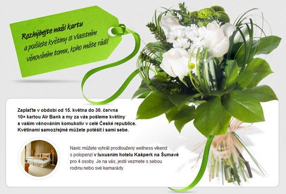 Platební karta, bonus, květiny, Air Bank, platba, obchodník