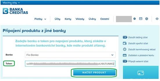 Obrázek 1: Rozhraní Banky CREDITAS