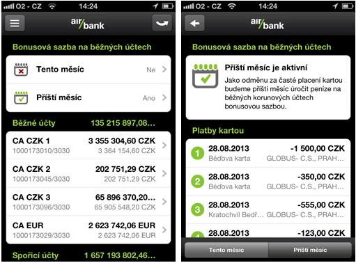 Náhled doaplikace mobilního bankovnictví Air Bank