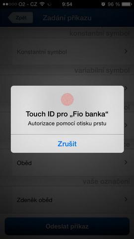 Fio banka nabízí nově svým klientům správu peněz pomocí otisku prstu. Autorizace pomocí Touch ID.