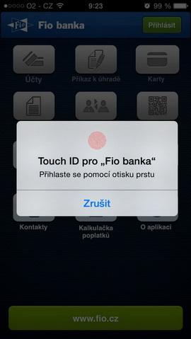 Fio banka nabízí nově svým klientům správu peněz pomocí otisku prstu. Login pomocí Touch ID.