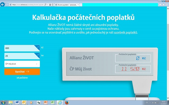 Kalkulačka živtoního pojištění odAllianz