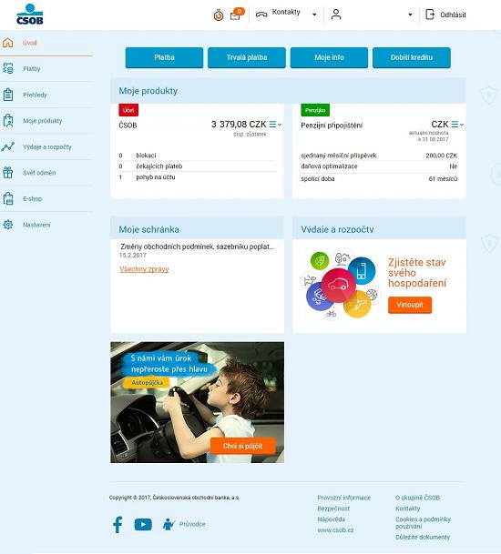 Úvodní stránka internetbankingu ČSOB