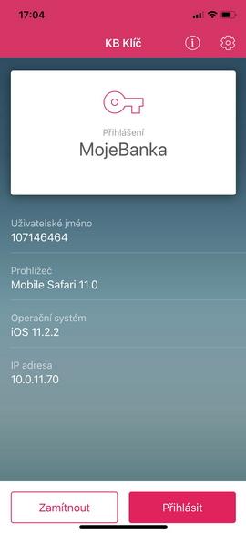 KB Klíč - mobilní telefon - snímek obrazovky