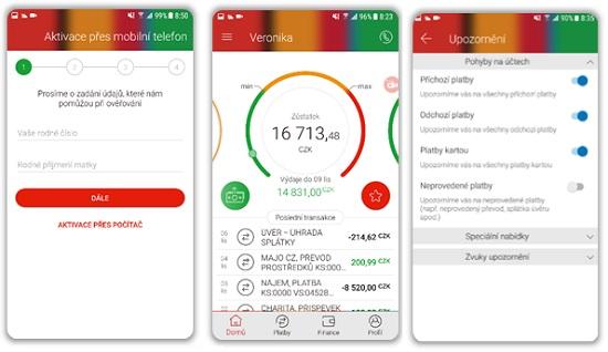 Obrazovky mobilního bankovnictví mBank verze 3.0