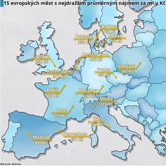Obrázej: Města snejvyšší cenou pronájmu bytů vEvropě